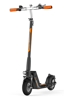 Z5 standing up electric scooter adds USB port to its replaceable battery and dual shock mitigation systems make it conquer various road conditions.